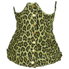 Jean Paul Gaultier Vintage Cheetah Print Corset Top Unworn Condition