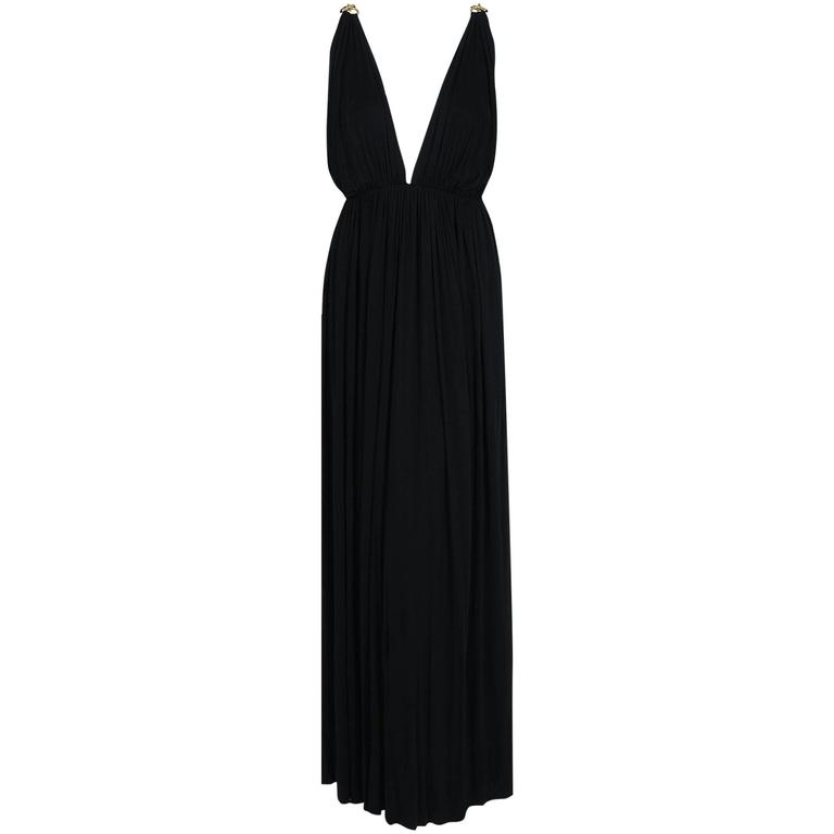 1977 Yves Saint Laurent Black Jersey Gold-Links Plunge Grecian Goddess Gown For Sale