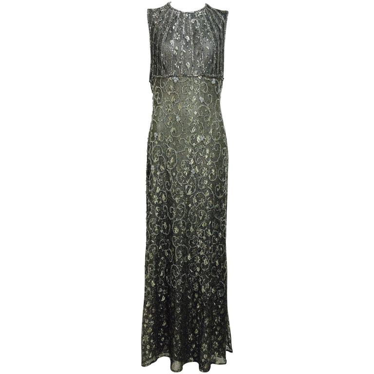 Badgley Mischka embroidered & beaded silver metallic lace gown