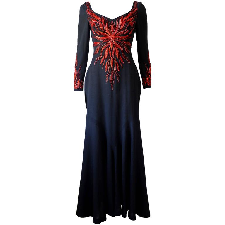 Murray Arbeid embellished fire evening dress, c. 1970s 1
