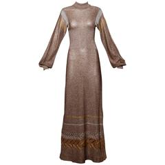 1970s Wenjilli Vintage Metallic Knit Maxi Dress or Gown with Long Sleeves
