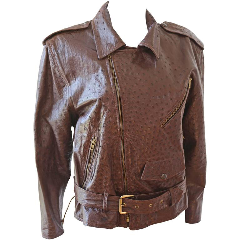 Jean-Claude Jitrois Ostrich Skin Motorcycle Jacket, c. 1980s For Sale