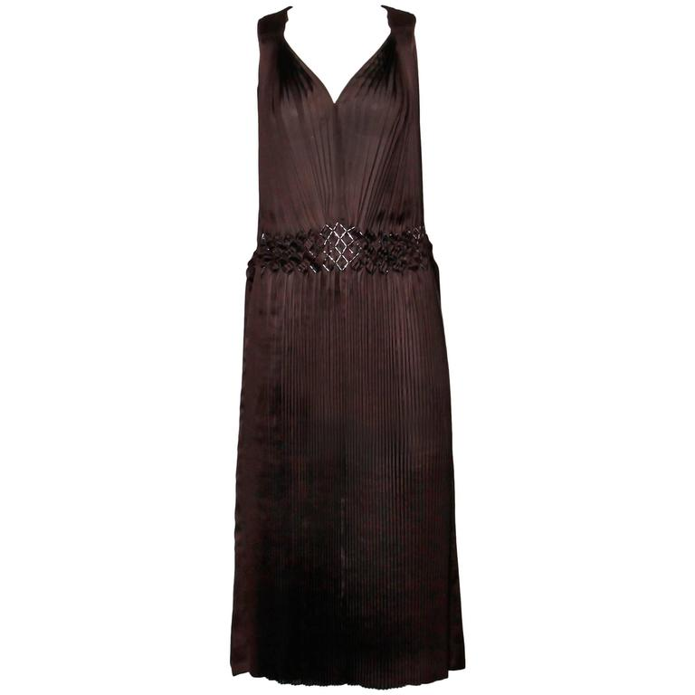 Issey Miyake Brown Pleated Flapper Dress with Unique Beaded Design