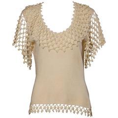 1970s Lillie Rubin Vintage Silk Wool Crochet + Knit Top with Flutter Sleeves