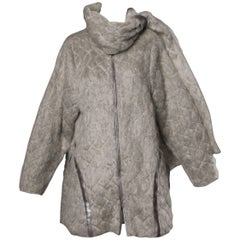 Claude Montana Vintage 1980s Mohair, Wool + Leather Oversized Cocoon Coat