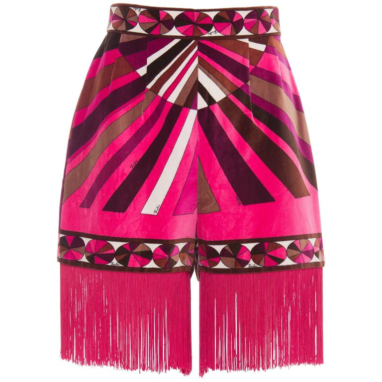 Emilio Pucci Velveteen High Waisted Hot Pants With Fringe Trim, Circa 1970s