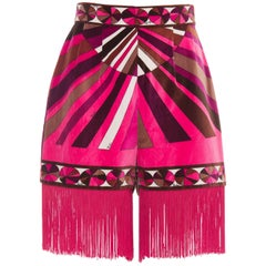 Emilio Pucci Pink Printed Velvet High Waisted Hot Pants Fringe Trim, Circa 1970s