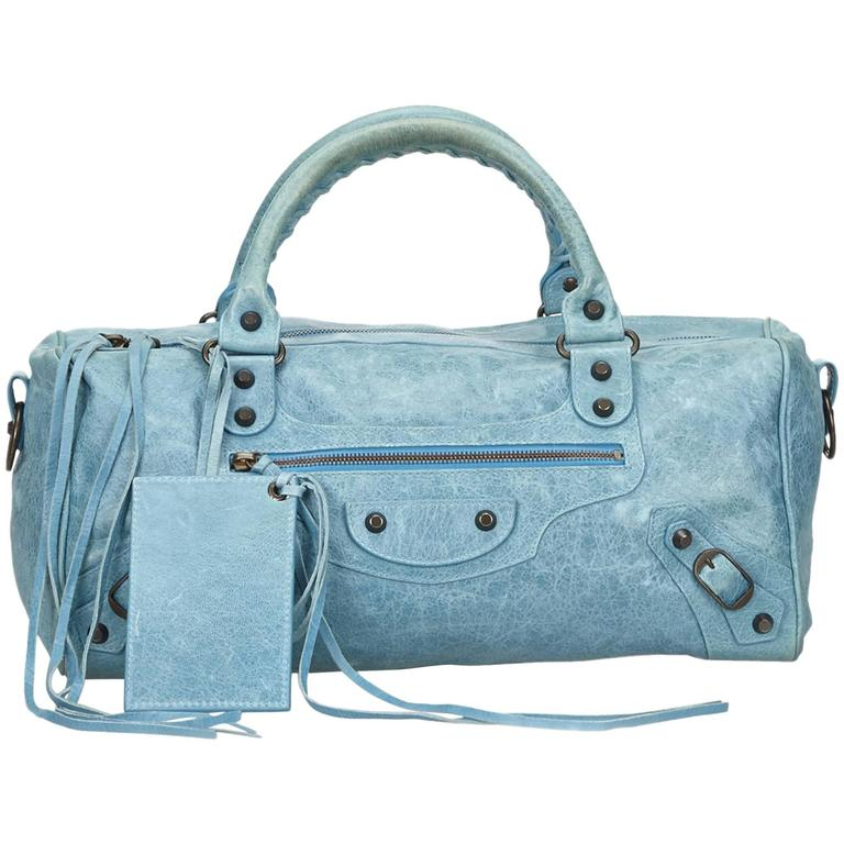 Blue Leather Motocross Twiggy Hand Bag For Sale
