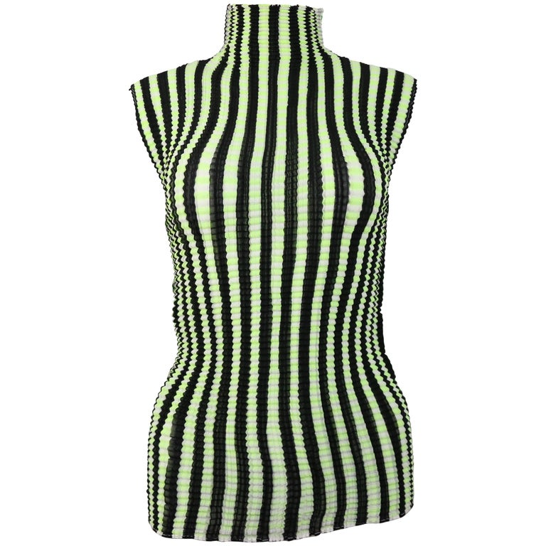 Issey Miyake Pleated Two Sides Colour Block Sleeveless Top  For Sale
