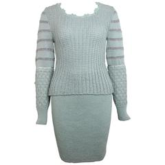Christian Lacroix Mint Metallic Knitted Two Piece