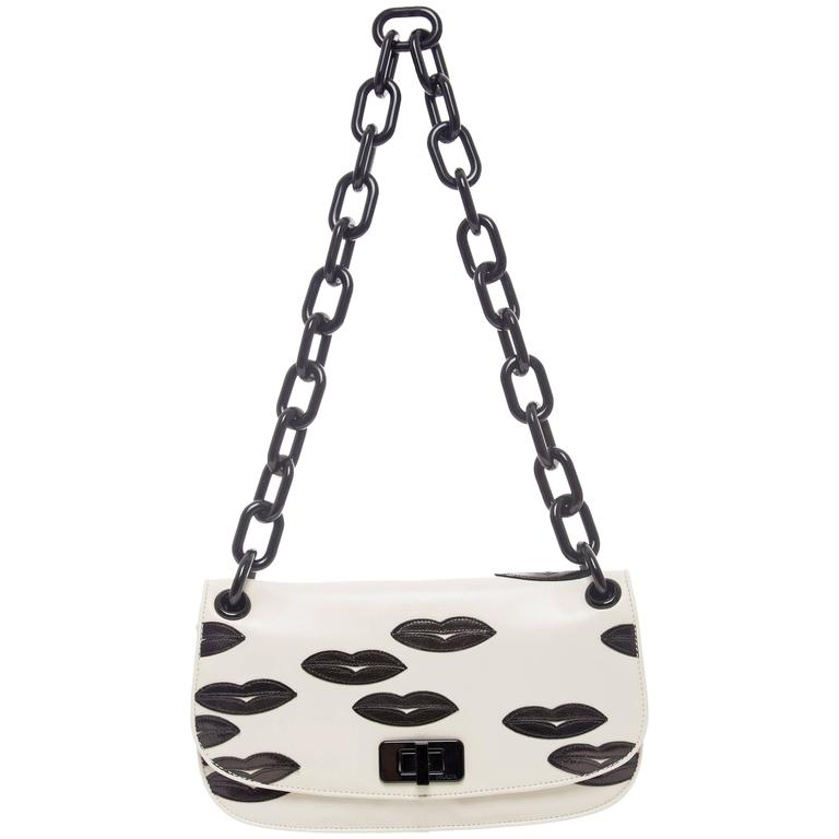 Prada White Leather With Black Lips Madras Flap Shoulder Bag, Resort 2012