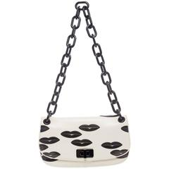Prada White Leather With Black Lips Madras Flap Shoulder Bag, Resort 2012