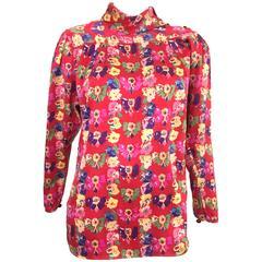 Ungaro 1980s Floral Silk Blouse Size 8.