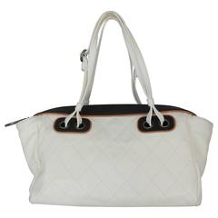 Chanel White and Black with Brown Trim Quilted Lambskin Shoulder Bag - PHW