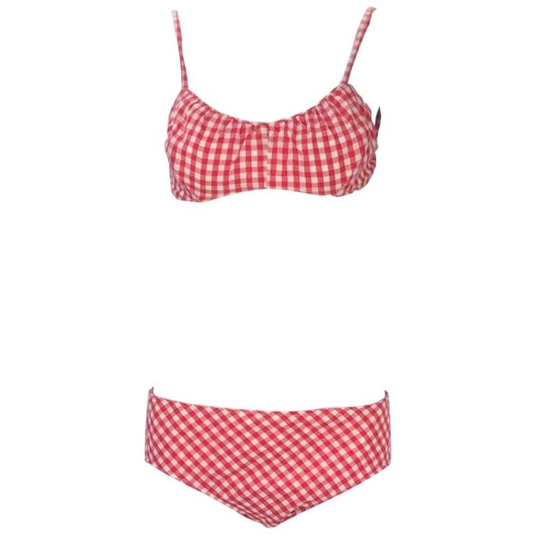 Cole of California White and Red Checkered Print Bikini with Headband, 1960s  For Sale