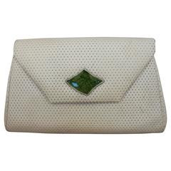 Paris Jacomo Ivory Perforated Leather Clutch with Green Stone - circa 1980's