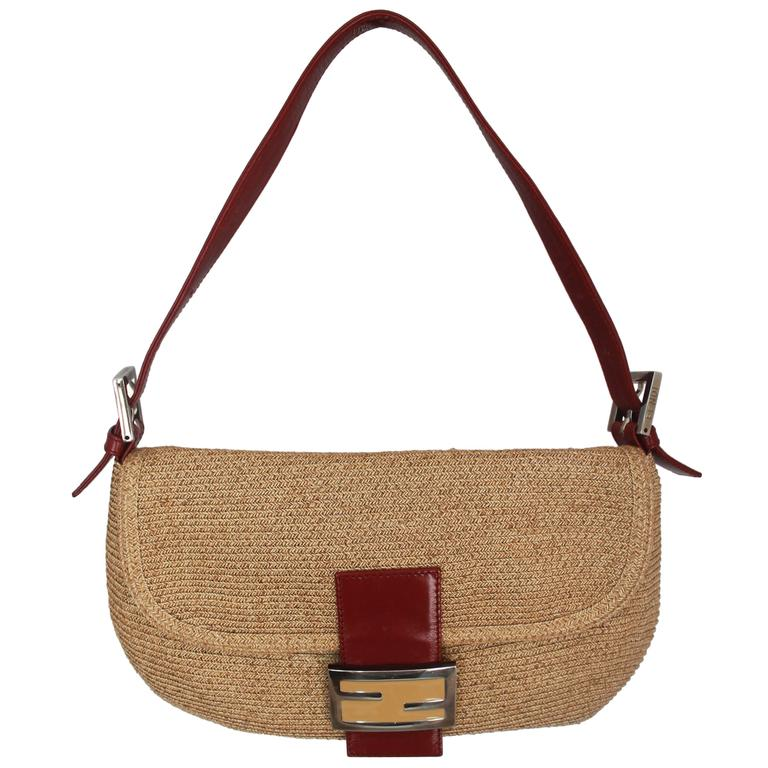 Fendi Beige Raffia & Red Leather Baguette - SHW  For Sale