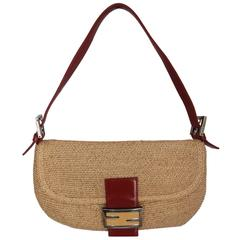 Fendi Beige Raffia & Red Leather Baguette - SHW