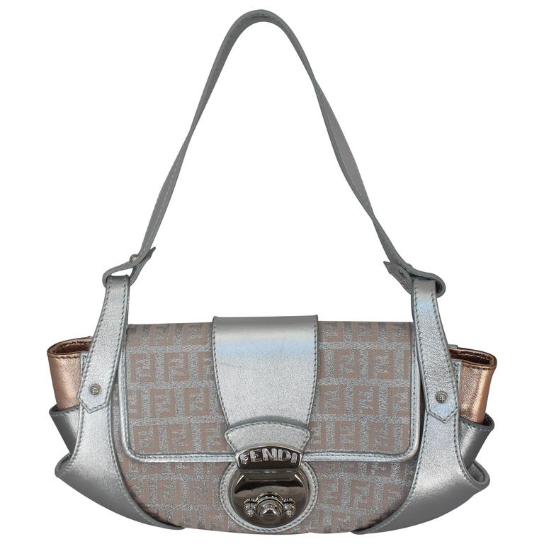 Fendi Silver & Rose Gold Leather With Monogram Handbag - Shw lLvFQuZRgU