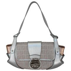 Fendi Silver & Rose Gold Leather with Monogram Handbag - SHW