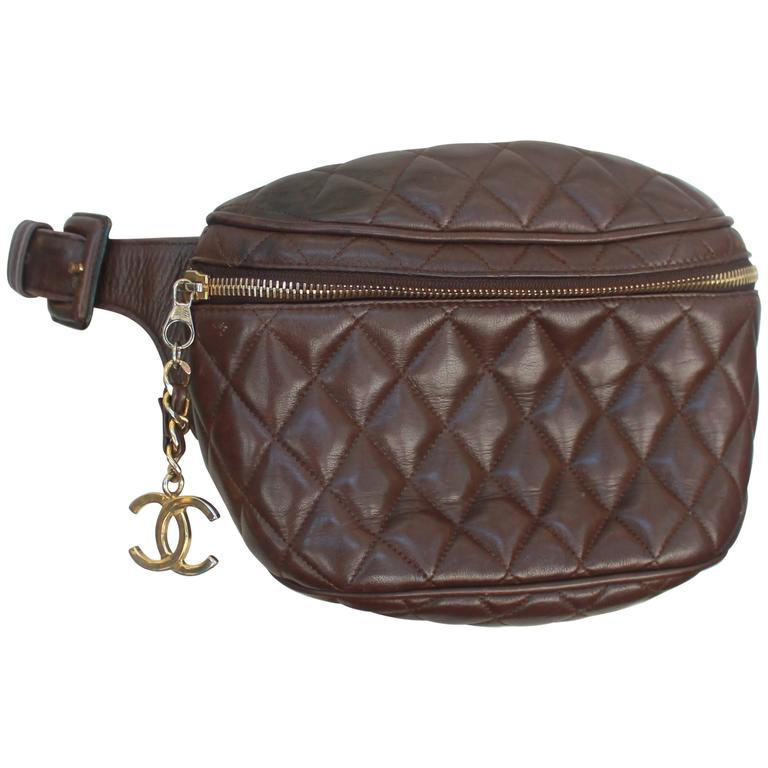 chanel vintage brown quilted lambskin fanny pack - ghw