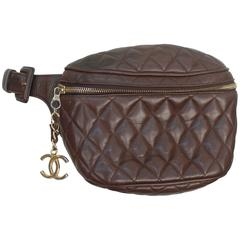 Chanel Vintage Brown Quilted Lambskin Fanny Pack - GHW - Early 1980's