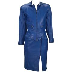 Yves Saint Laurent Blue Leather Jacket and Skirt Ensemble, 1980s