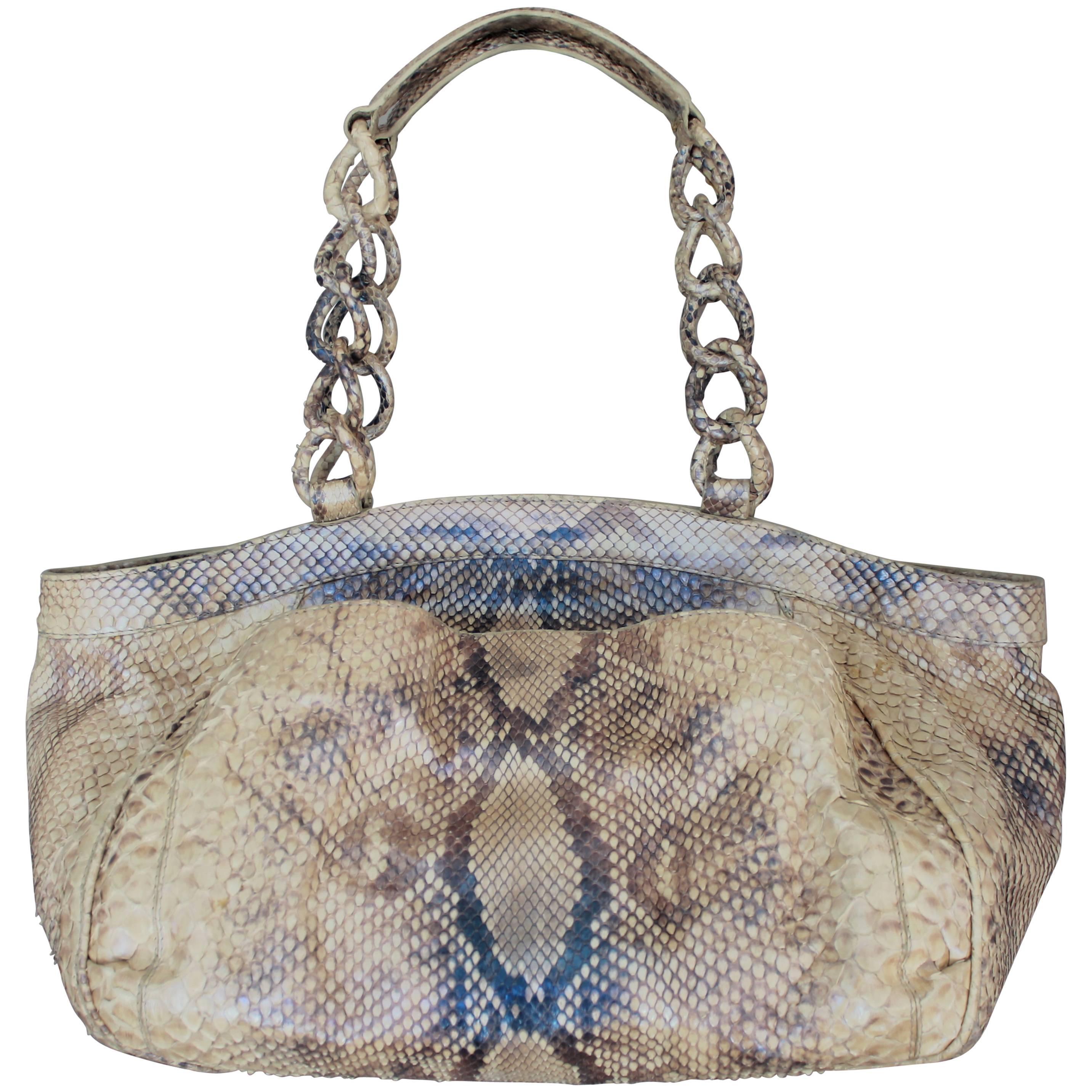 Nancy Gonzalez Earthtone Metallic Python Shoulder Bag 0aHlP