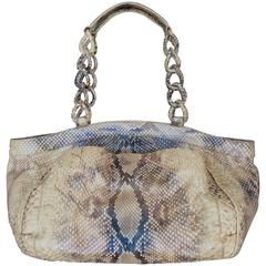 Nancy Gonzalez Earthtone Metallic Python Shoulder Bag