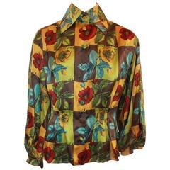Christian Lacroix Silk Multi-color Floral Printed Blouse - 38