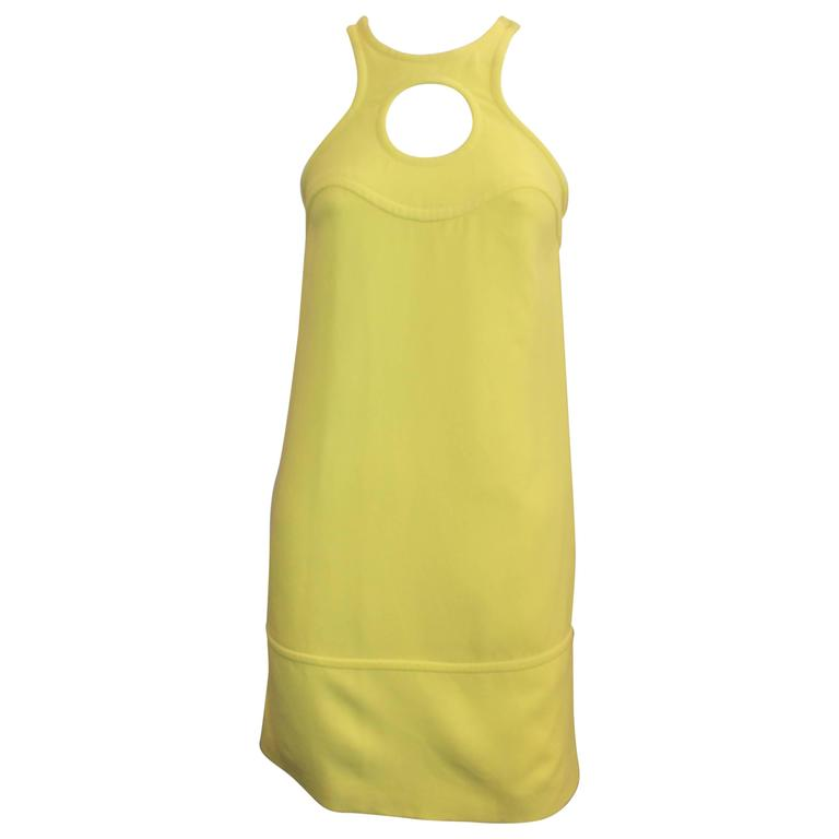 Emilio Pucci New Yellow Halter Dress with Keyhole - 38 For Sale