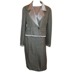 Chanel Vintage Olive Silk & Mohair Blouse & Skirt Suit - 38 - 99A