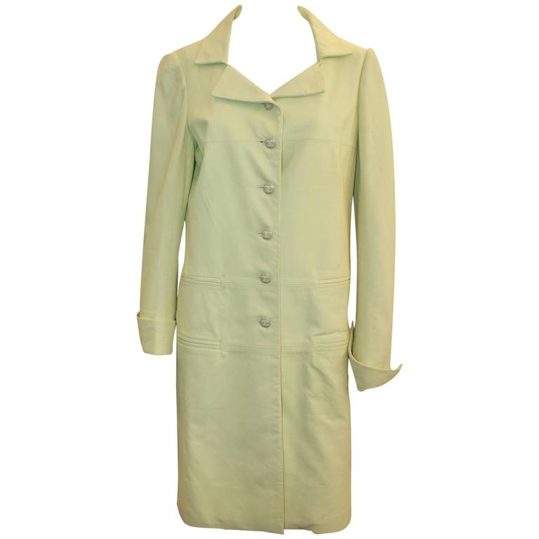 Chanel Chartreuse Lambskin 3/4 Coat - 40 - 04C  For Sale