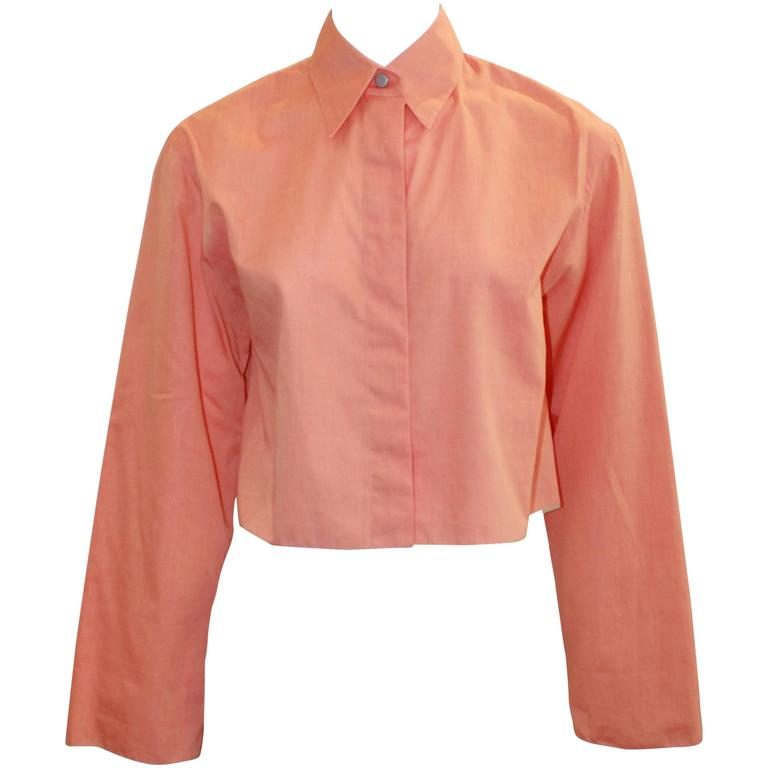 Chanel Vintage Orange Cotton Collared Cropped Top - 36 - 99P For Sale