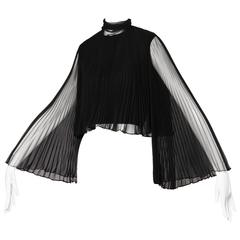 Mollie Parnis Vintage 1960s Black Accordian Pleated Crop Top with Angel Sleeves
