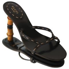 Iconic Gucci Bamboo Leather Sandals Heels