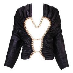 2009 Junya Watanabe Black Puffer Jacket w/Gold Tone Chain Heart Closure
