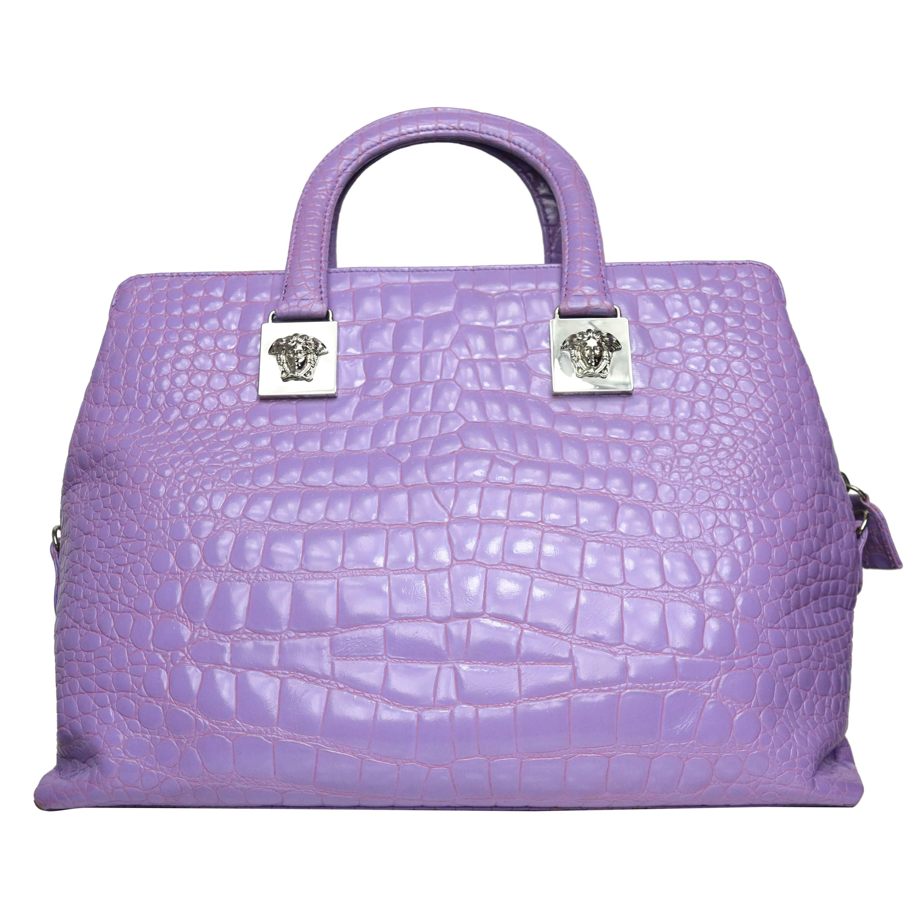 1stdibs Baldinini Purple Suede Box Handbag