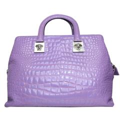 Gianni Versace Couture Purple Croc Embossed Enamel Leather Handbag