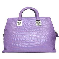 Gianni Versace Couture Purple Croc Embossed Enamel Leather Handbag