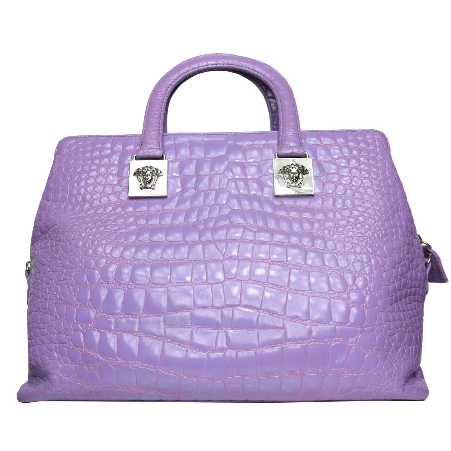 Gianni Versace Couture Purple Croc Embossed Enamel Leather Handbag For Sale  at 1stdibs