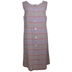 Chanel Multi-Colored Wool Blend Striped Tweed Dress