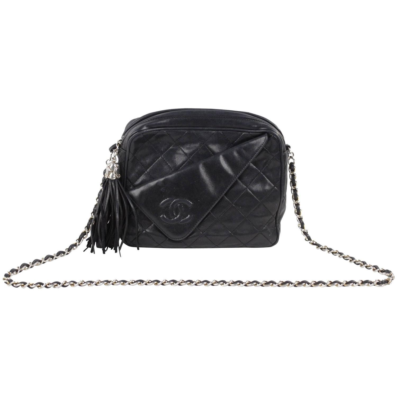 3b3103c1 CHANEL Vintage Black QUILTED Leather CAMERA BAG Fold Detail CROSSBODY Tassel