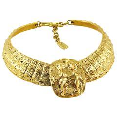 Yves Saint Laurent YSL Vintage Croc Gold Toned Choker Necklace