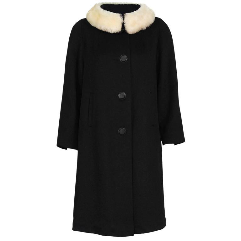 1960's Lilli Ann Black Wool Swing Coat