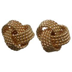 Tiffany & Co. 18k Gold Love Knot Twisted Stud Earrings