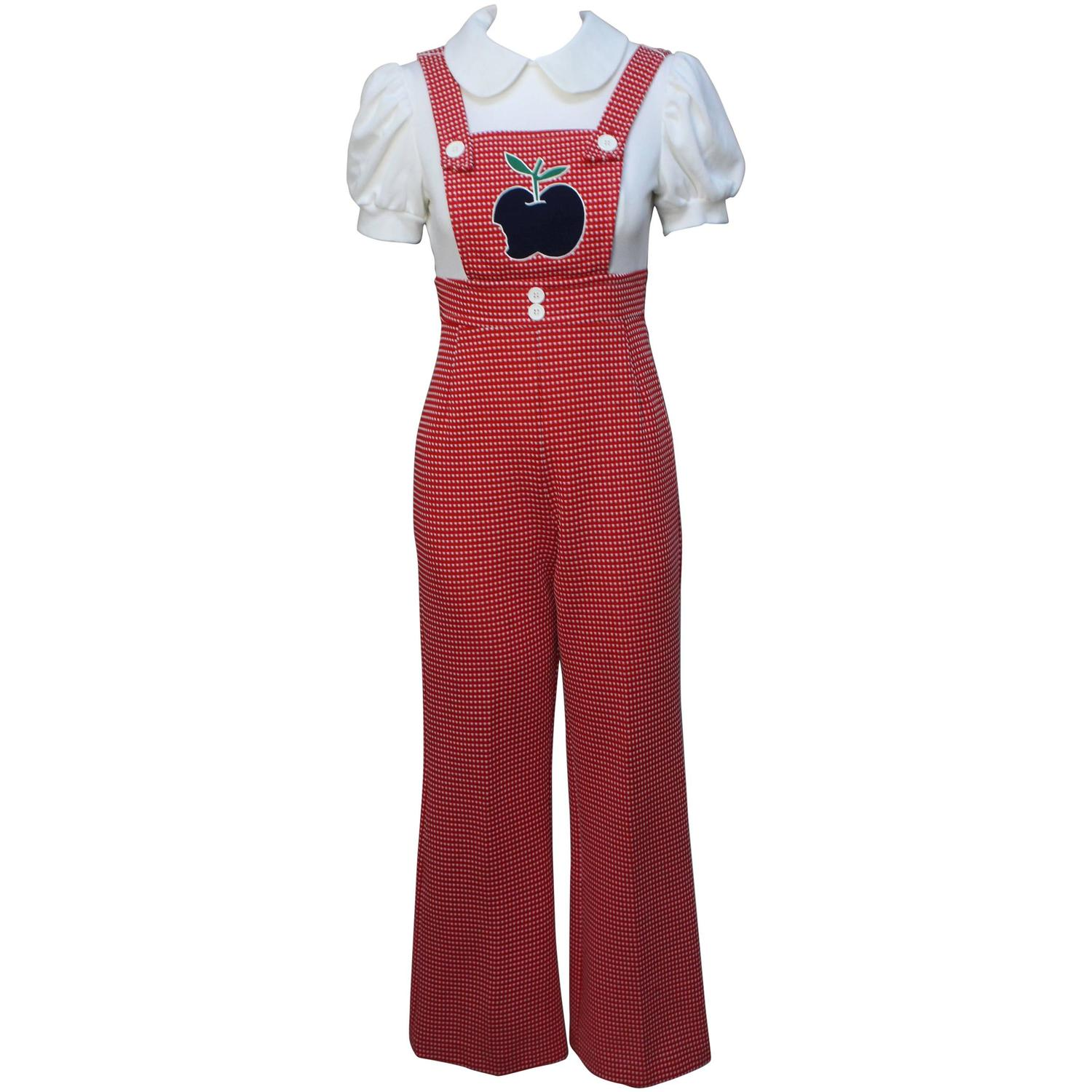 1960s Mod Applique Overall Jumpsuit For Sale At 1stdibs