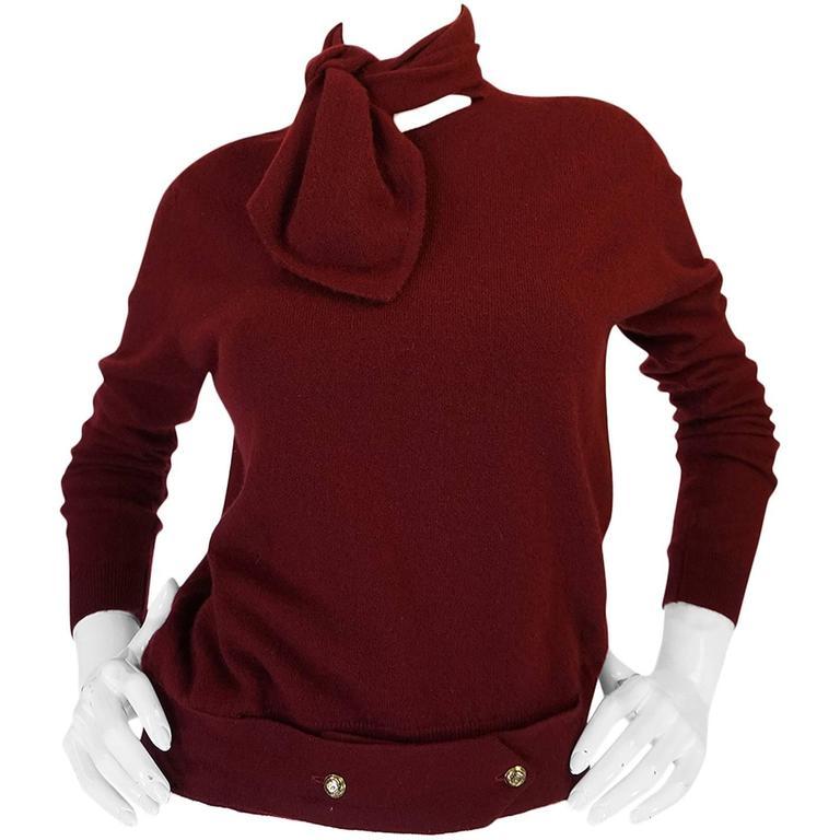 1980s Burgundy 100% Scottish Cashmere Chanel Sweater 1
