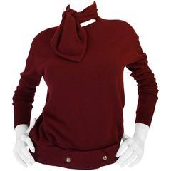 1980s Burgundy 100% Scottish Cashmere Chanel Sweater
