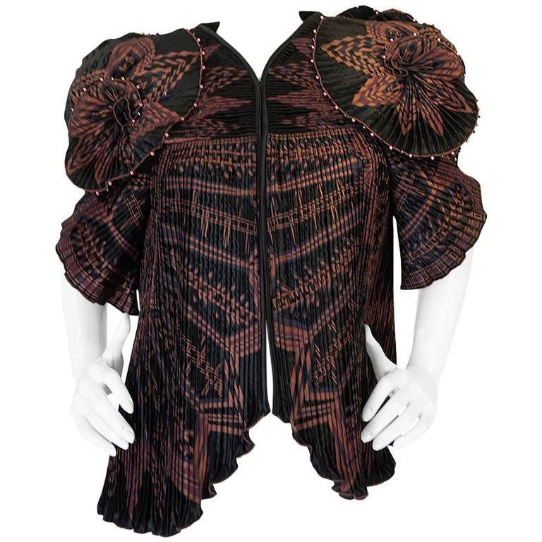 Iconic 1970s Zandra Rhodes Hand Painted Pleated Jacket For Sale